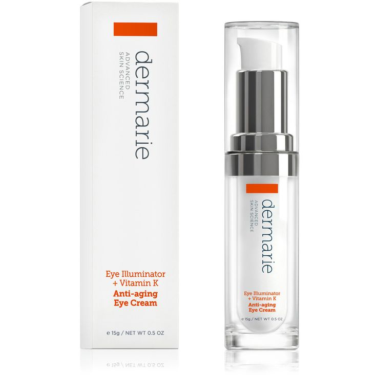 Dermarie's Eye Illuminator + Vitamin K Anti-aging Eye Cream uses a unique complex of vitamin K, arnica, and DCX to eliminate the dark circles and puffiness that result from poor circulation and capillary pressure. Our proprietary blend of organic botanical and biotechnological peptides improves micro-circulation and blood flow.