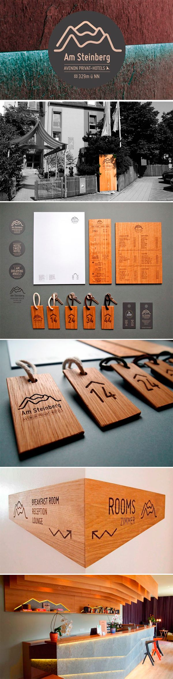 Am Steinberg Hotel - love the use of wood in this #stationery design