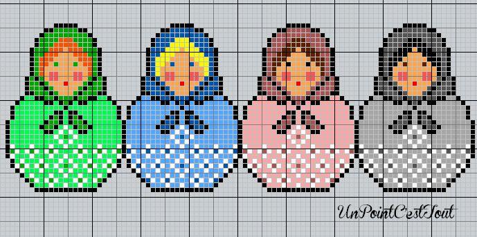 .Matryoshkas nesting doll cross stitch or perler bead pattern