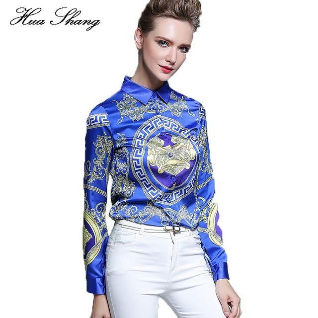 Huashang Women Formal #Blouses Loose Elegant Long Sleeve Chiffon Tops Casual Vintage Printing Shirt Plus Size Women #Blue #Blusas