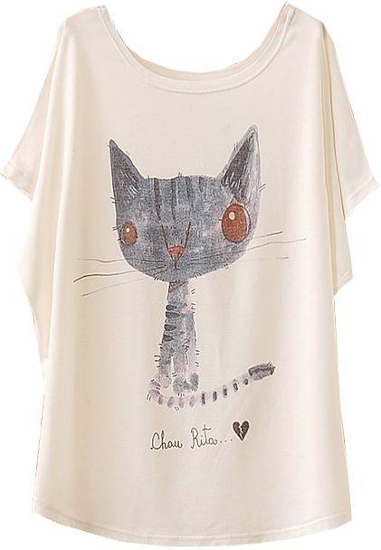 White Batwing Short Sleeve Cat Animal Print T-Shirt Tshirt