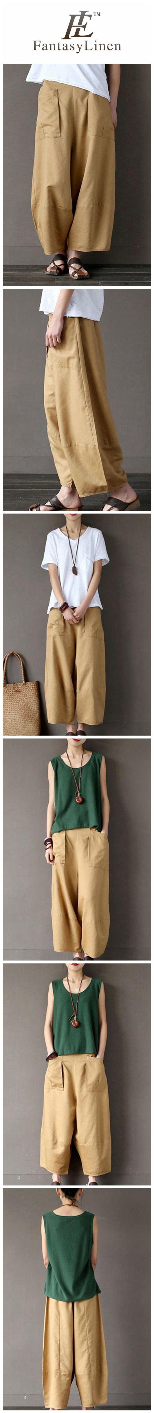 Khaki Loose Cotton Linen Casual Ankle Length Pants Women Clothes P1203 P1203Khaki