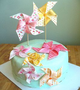 Is this not the cutest wedding cake design ever? This is adorable as a bridal shower cake or even a baby shower cake. The cake recipe and tutorial are easy to follow, and it teaches you how to make fondant into adorable pinwheels.