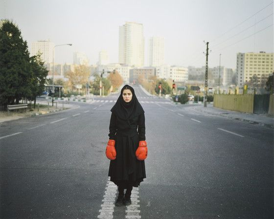Untitled, from the series Listen Series: Listen Descriptive: girl in boxing gloves Newsha Tavakolian (Iran, Tehran, born 1981) 2011