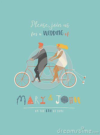 Huwelijksuitnodiging met bruidegom en bruid die fiets achter elkaar berijden Leuke jonggehuwden een fiets, die naar wittebroodswe
