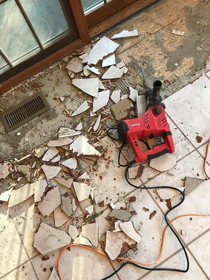 How To Remove Tile Floors Tile Removal Flooring Tile Floor Diy
