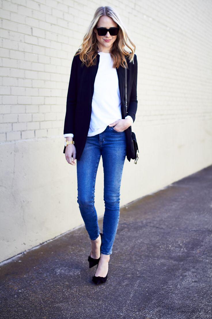 Fall Outfit, Long Black Blazer, White T-shirt, Denim Skinny Jeans, Chloe Faye Handbag, Black Bow Pumps