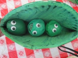Peas in a Pod craft using painted paper plates, and green play dough balls, or inflated small green balloons, (or you can fill them with flour, and tie off.  Then just add wiggle eyes and have the kids draw facial features).