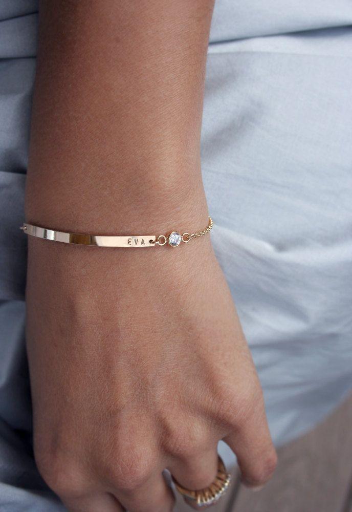 Diamond nameplate bracelet - Cubic zirconia cz bracelet with tiny font - Gold filled or sterling silver slim initial bar. $60.00, via Etsy.