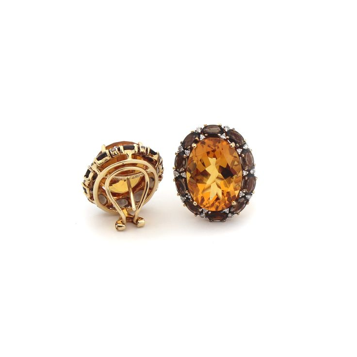 EAU DE VIE EARRINGS  These magnificent earrings are made from a selection of the highest quality citrine, smokey quartz and diamonds using 18 karat yellow gold.