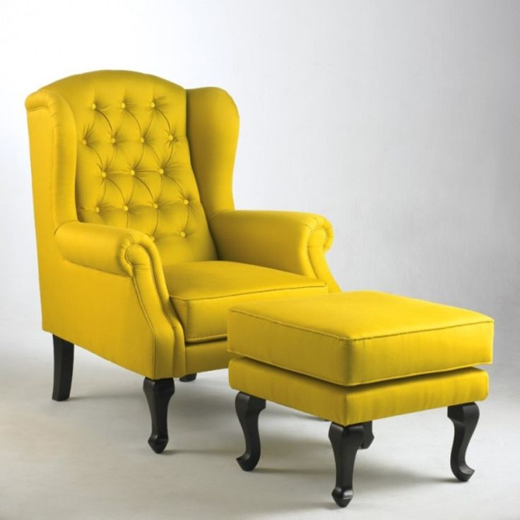 Furniture : Tufted Yellow Wingback Chair Stunning With Fetching Yellow  Chairs For Your Living Room Decorations Vintage Corner Chairs.