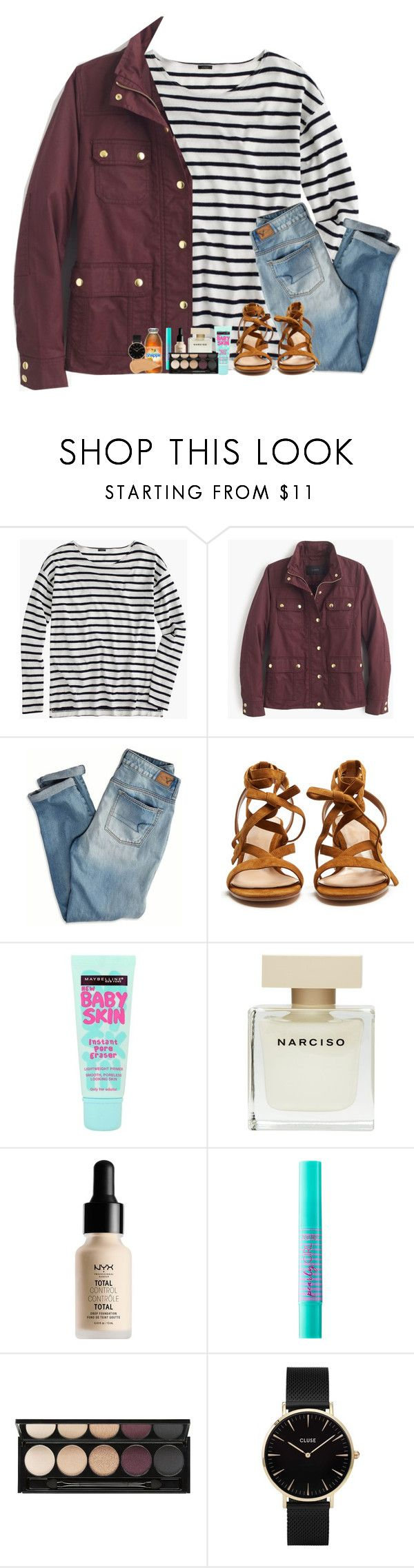 """""""Today was such a good day!!"""" by kat-attack ❤ liked on Polyvore featuring J.Crew, American Eagle Outfitters, Gianvito Rossi, Maybelline, Narciso Rodriguez, NYX, tarte, Witchery, CLUSE and NARS Cosmetics"""