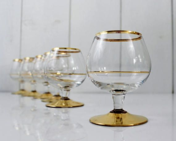 Set of six French Crystal Gold Liquor Glasses  by ohlalacamille