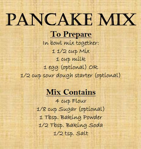 """Okay, I literally just made this.  DELISH and so crazy easy.  Homemade Pancake Mix (Colored Label)."""