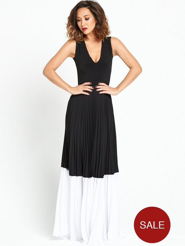 Myleene Klass Pleated Colour Block Maxi Dress - Black/White Understated, yet chic, this beautiful pleat maxi dress by Myleene Klass is just what your occasionwear wardrobe needs this party season.With a plunging neckline and sleeveless style, it's casual yet luxe and the pleats to the maxi skirt as well as bold contrasting hem give you a fluid silhouette that'll swish and sway as you make your way to the dance floor.Add a pair of stiletto heels, flick of eyeliner and slick of ruby red…