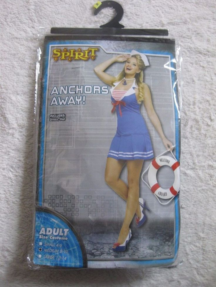 NEW Size MED 8-10 Anchors Away ADULT Sexy Sailor Halloween Costume Dress Cosplay #CompleteOutfit