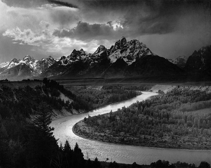 The Tetons and the Snake River, Grand Teton National Park, Wyoming, 1942, Ansel Adams, public domain via Wikimedia Commons.