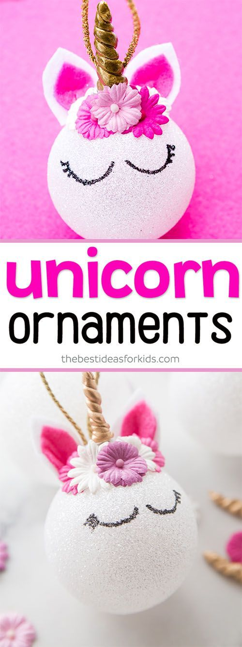 These DIY Unicorn Ornaments are so pretty! These are so easy to make for the Christmas tree! Kids can help make these or would love to receive these as a gift. #unicorns #christmas #christmasornaments #DIY via @bestideaskids