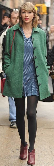 Green coat, blue print dress