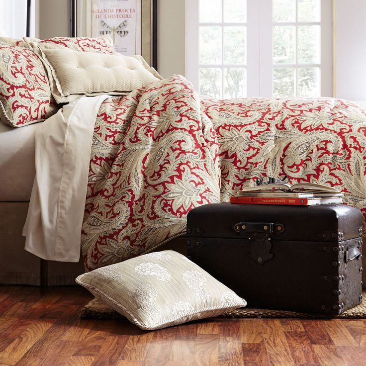 the red and ivory combination featured in leela bedding collection will add light and freshness to your room