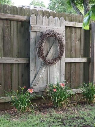 -Susan Strong's garden-Old gate mounted on backside of fence