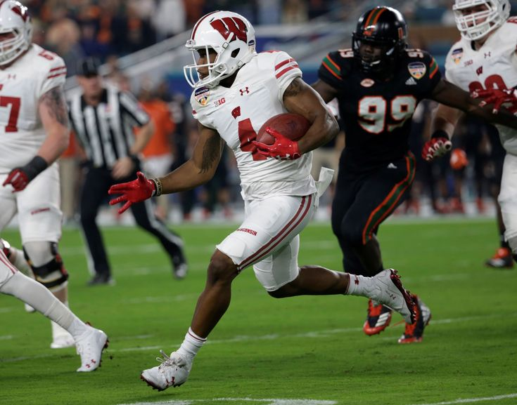 Alex Hornibrook threw four touchdown passes, three of them to Danny Davis, and No. 6 Wisconsin capped off the winningest season in school history by topping No. 11 Miami 34-24 in the Orange Bowl on Saturday night.