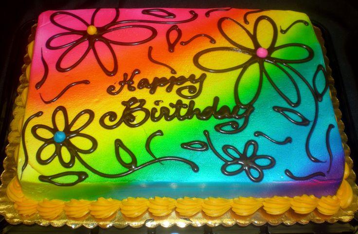 rainbow happy birthday cake