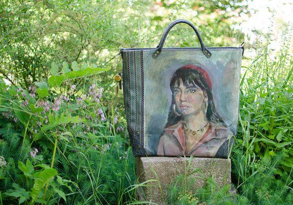 Oil painted tote bags - Painting Bag - painted canvas bag - Leather bag, Tote, BIG bag - Portrait - vintage oil painting