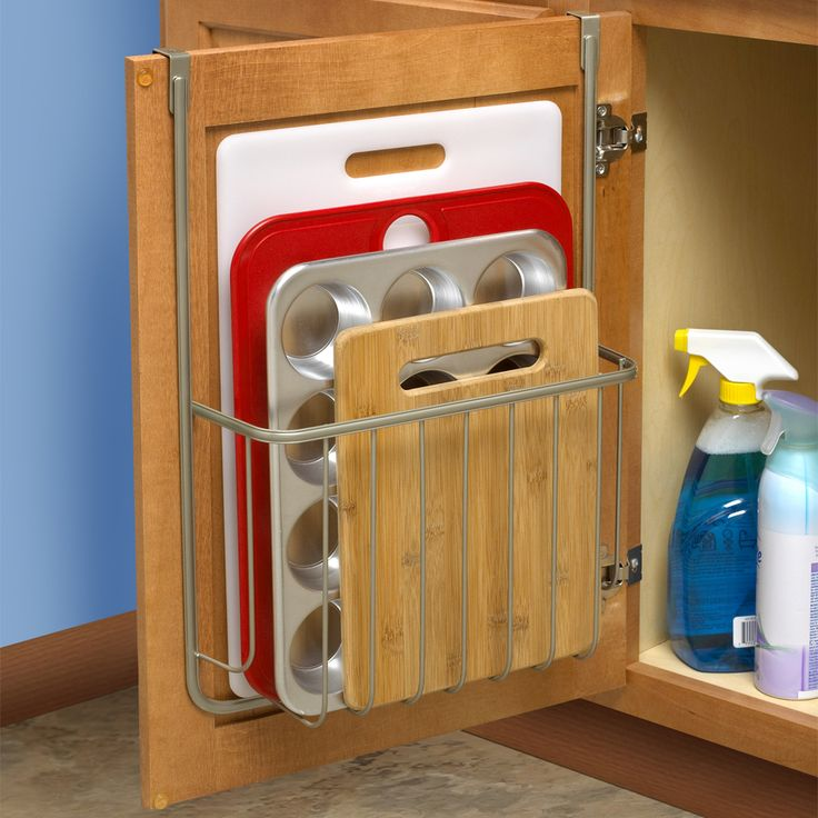 Organize cabinet space with the Bakeware Organizer - fits cutting boards baking sheets and more - padded brackets protect cabinets from scratching