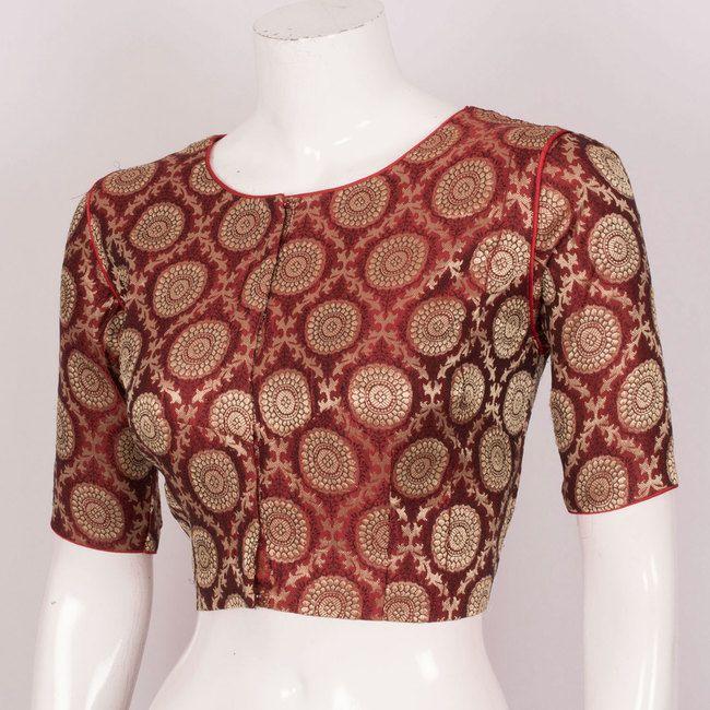 Hand Crafted Banarasi Silk Blouse With Lining & Piping 10019886 - Size 38 - AVISHYA.COM