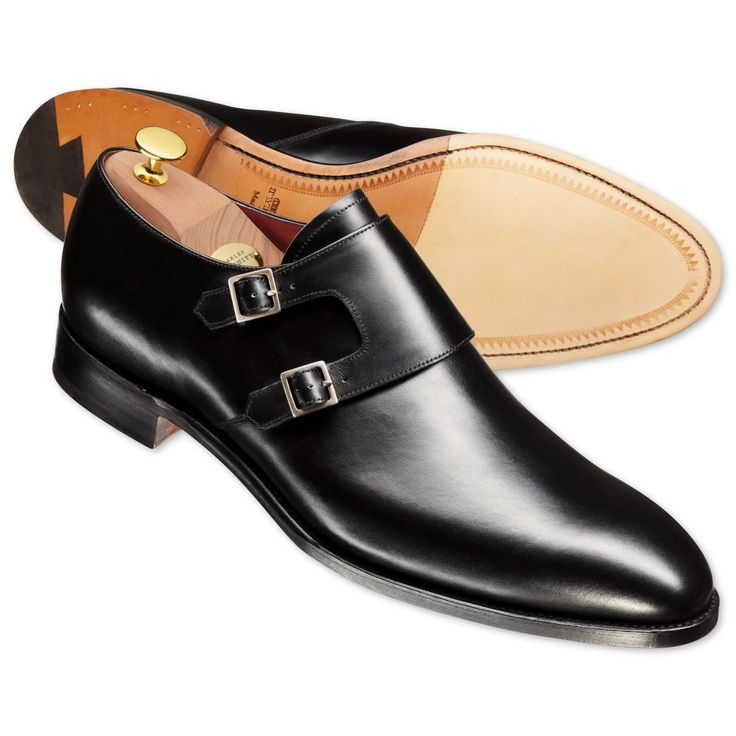 Black Lawrence calf leather double buckle monk shoes | Men's business shoes from Charles Tyrwhitt, Jermyn Street, London