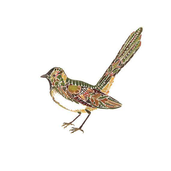 Willie Wagtail Bird made from pressed Fern 8 от HelenAhpornsiri