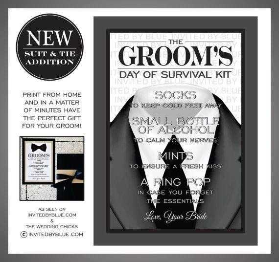 Groom S Survival Kit Digital File Black Tie Grey Suit