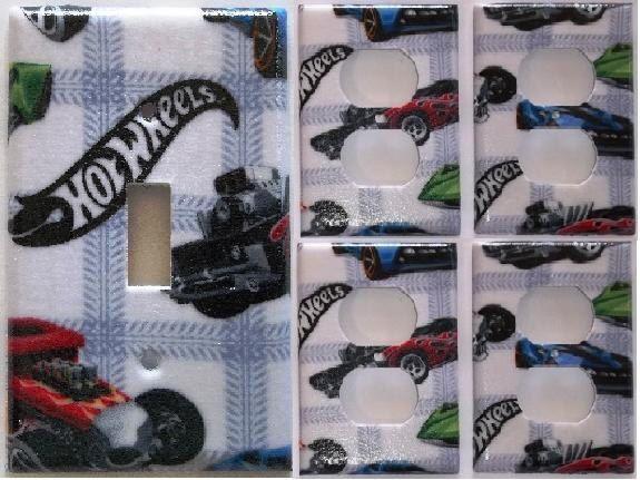 Hot Wheels Race Match Box Car Light Switch Plate Cover Boys Bedroom  Bathroom Decoration Decor Set