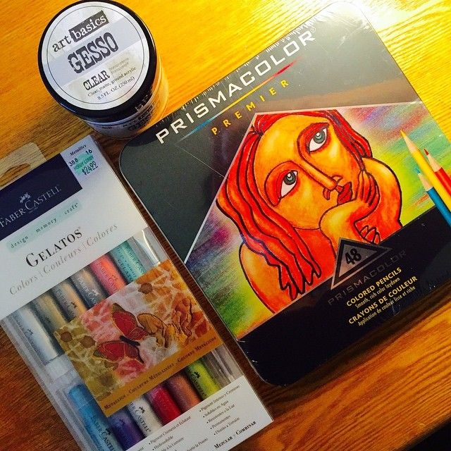 I made a trip to Hobby Lobby yesterday to pick up a shadowbox for my daughters science/math fair project.... Yes it's a dangerous thing to send me to a hobby Lobby!  I can never leave empty-handed! I picked up some gelatos and used the Hobby Lobby discount coupon for 40% off! They are originally $24.99 so I was happy about that.  As I arrived home I found an Amazon box awaiting on my front step! Eek! This just made my day! Prismacolors & clear gesso I've been wanting for quite some time now…