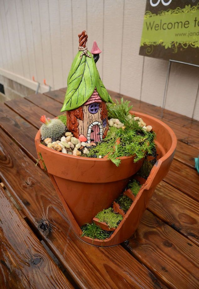 Broke a flower pot? It's the perfect fairy garden in the making!