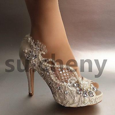 """Cristal Salto 3"""" 4"""" Branco Marfim Renda Seda aberto Toe Sapatos De Casamento Noiva Tamanho 5-9.5"""