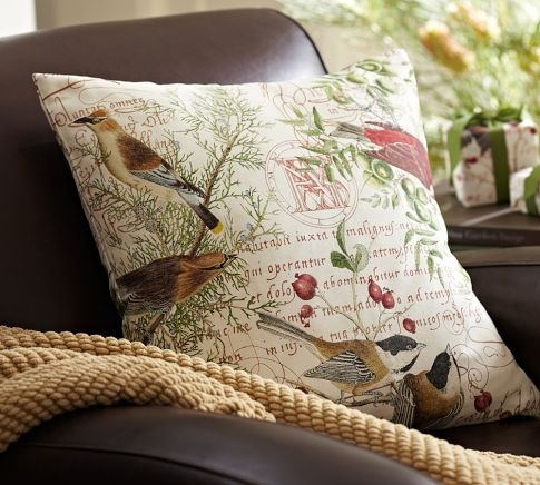 Winter Bird Pillow Cover Pottery Barn Pottery Barn