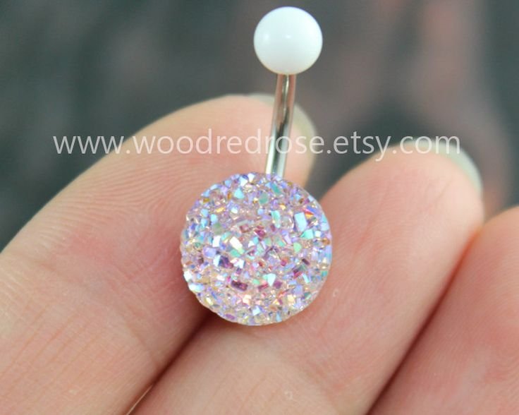 Sparkling belly ring,blingbling belly button ring,Clear and Pink Purple Navel , Navel Piercing Ring Stud Piercing by woodredrose on Etsy