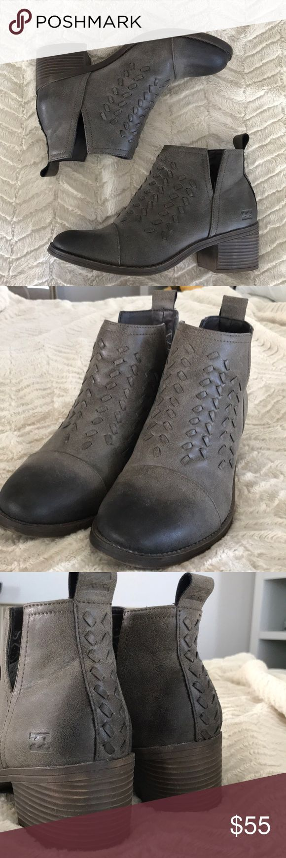 """Billabong ankle boots Billabong ankle boots size 7. Brand new and not worn. I need a size 7 1/2 ... cute boot. Leather. 2"""" heel. Dark gray Billabong Shoes Ankle Boots & Booties"""
