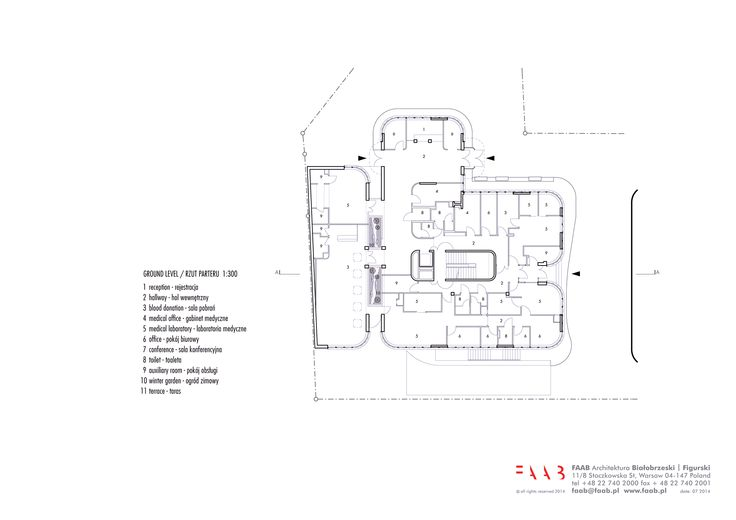 ground floor plan / new construction and renovation of the Raciborz Regional Blood Center in Raciborz, PL © FAAB Architektura