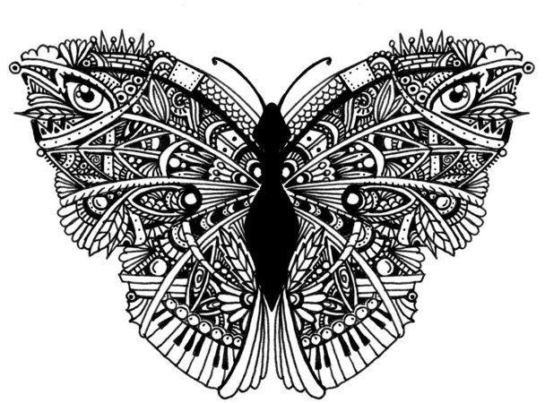 """Monarque"" - by Bleeken #butterfly  #doodle #zentangle"