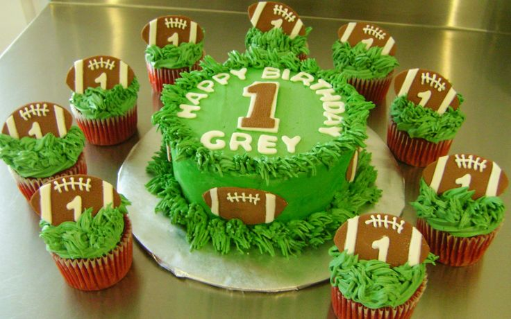 Birthday Cupcakes and Smash Cake for a 1st Birthday Party. These Football themed Cakes are Vanilla and Red Velvet with Swiss Buttercream http://shop.ohmysoulcookies-cakes.com/