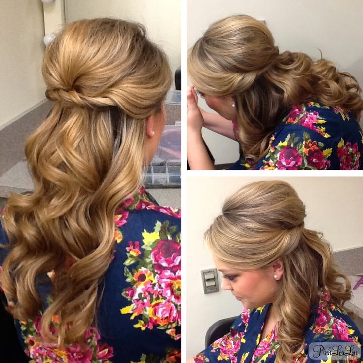 Half-up/Half-down evening hairstyle, found on www.thepinkloulou.com. Top half swept to the side, bouffant crown, twisted and pinned accross the back. Bottom half curled.