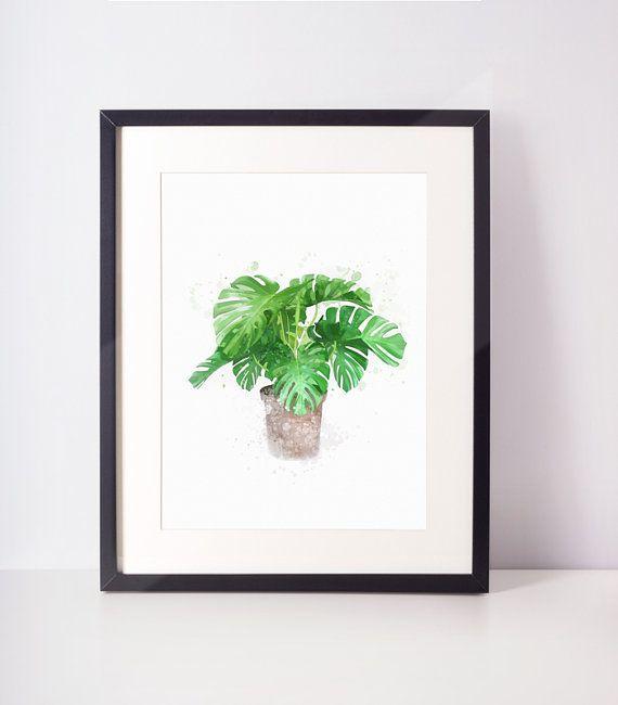 Monstera leaf art, monstera print, botanical print, tropical leaf print, monstera deliciosa, monstera leaf print, instant download