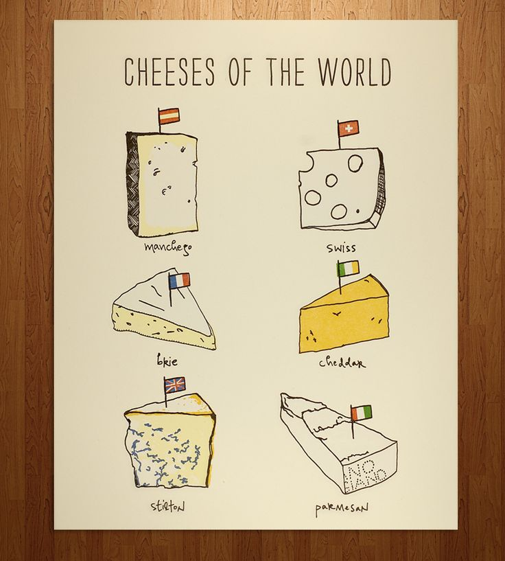 Cheeses Of The World Letterpress Print in Art & Prints by Nane Press on Scoutmob Shoppe.  Spread some knowledge of the cheese-verse with a kitchen-y print on cotton paper.