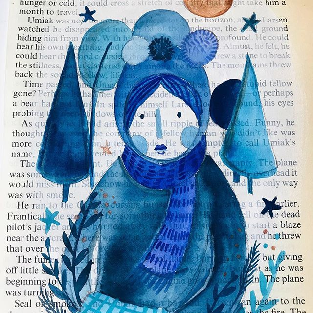 Blue ladies. Indigo lady. Pom Pom and winter warmers. #moon #indigoink #shadesofblue #scarf #woolyhat #winterwonderland #artonpaper #artforwalls #irishart #irishillustration #vintagebookpages #vintagepaper #womenwhodraw #instagallery