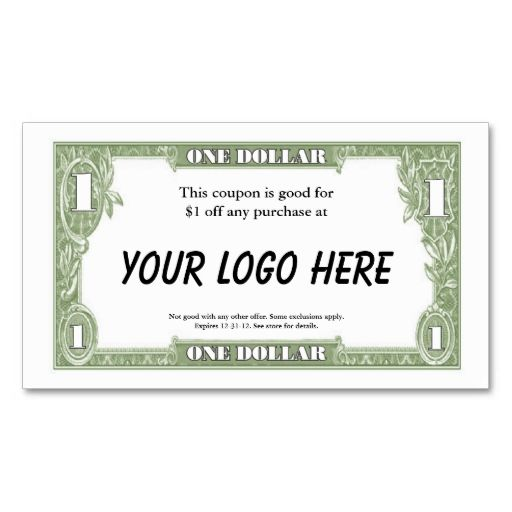 $1 Coupon Card Business Cards. Make Your Own Business Card With This Great  Design.  Create Your Own Voucher Template