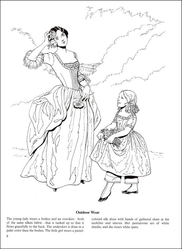 fashions of the old south coloring book additional photo inside page