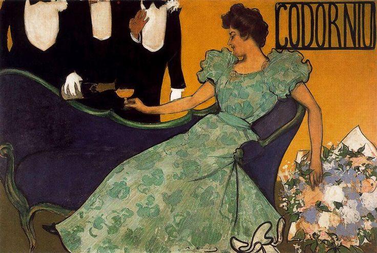 Ramón Casas (catalan 1866-1932), Ámbar y espuma. 1898. Lápiz conté, tinta china, pastel, acuarela y temple de cola. 130 x 197 cm. Colección Codorniu #art #barcelona